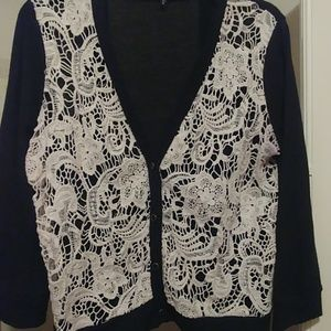 3 for $20/Vintage cardigan with crochet front